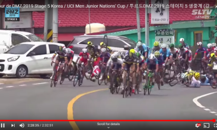 """Gangnam Style"" crash at the last km of the ""Tour de DMZ""  in Ganghwa (S-Korea) Aaron Wade 7th and all Irish Warriors safely home after being involved in early breaks!!"