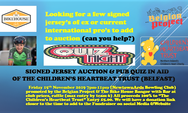 "A fundraiser with a pub quiz and signed jersey auction in Newtownards on Friday 15th November in aid of the ""Children's Heartbeat Trust"" of the Royal Hospital Belfast"