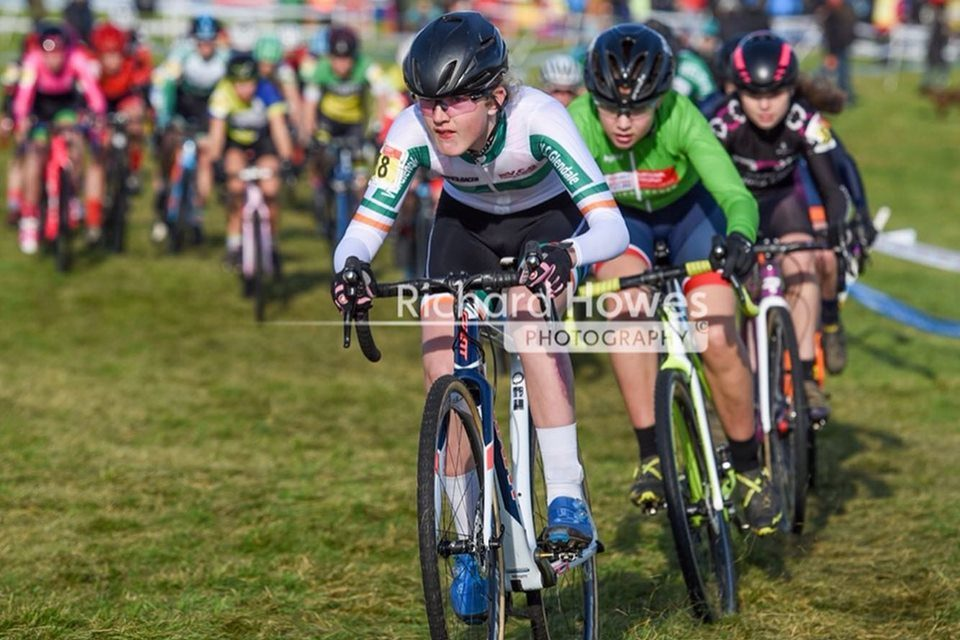 Best result ever (3rd) by an underage Irish girl at the British CX series…Irish U/14 Champ Aine Doherty (VC Glendale) Now that bodes for the future (Rd 3 British CX series in Irvine Scotland)
