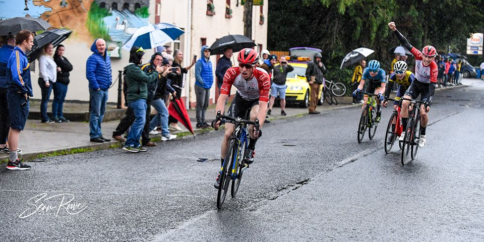 The Mountnugent GP promoted by Navan RC was a very wet affair, but it didn't spoil a fierce race won by Strata 3-Velo's sprinter Paul Forristal (Saturday 1 August) Sean Rowe reports…