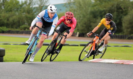 "George Peden has the upper hand to Lindsay Watson in the TT's lately, but when it comes to Road Racing Lindsay knows when to strike…it was a great battle at ""Kinning Cycles Nuts Corner Crit races"" last night in Dundrod (18th August)"