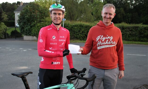 """After 2 weeks of isolation (home from France), Matthew Teggart (VC Villefranche Beaujolais) got back on the bike and wins the """"Countryside Crit"""" in Moy promoted by Square Wheels CC…a full schedule of all Cat's, including youth was on hand before the main race (Frid 11th June)"""