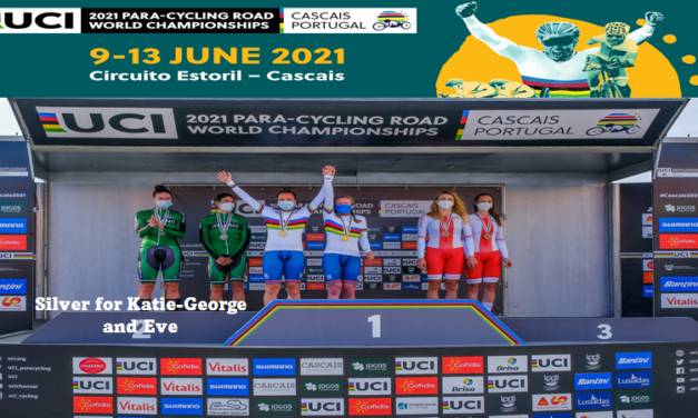 Medal alert Team Ireland!! Katie-George Dunlevy and Eve mc Crystal got their first medal in the Para-Cycling World Championship in Portugal…Silver in the Tandem TT !! + very respectable results for the other Irish Warriors!!