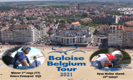 """Remco Evenepoel (DQS) fastest in today's TT in """"the Baloise Belgium Tour"""" in my old neighbouring town of Knokke-Heist…Ryan Mullen (Trek-Segafredo) a very respectable shared 10th place!!"""