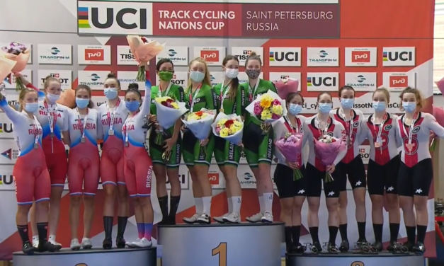 From Russia with Gold…Team Ireland wins the Team Pursuit (4000 m) at the Track Cycling Nation Cup in St-Petersburg and sailing close to the national record…Well done Mia, Lara, Alice, and Kelly xx