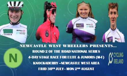 Entries Open for Round 2 of the Road National Series (4-day stage race) which will be held in the knockaderry-Newcastle West area in County Limerick…A long Holiday weekend to look forward to (Friday 30 July-Monday 2 August 2021)