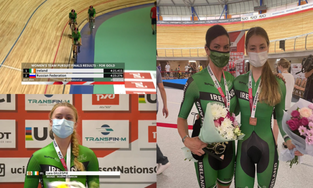 4 medals in the World Cycling Track Nation Cup in Saint Petersburg (Russia) for Team Ireland. Gold with Lara, Kelly, Mia, and Alice Sharp in the Ladies Team Pursuit and Gold for Kelly Murphy at the Ladies Individual Pursuit. Ex bursary holders of the project Mia Griffin (Individual Pursuit Bronze) and Lara Gillespie took the other bronze in the Omnium event!
