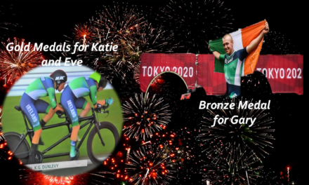 An amazing morning at the Paralympics for Team Ireland at the International Speedway in Fuji !! First Gary O'Reilly takes Bronze in the C5 TT, a bit later Katie-George Dunlevy and Eve Mc Crystal taking gold in the Ladies Tandem TT!!!
